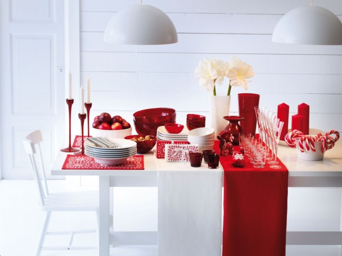A paired down, candy cane color scheme of just red and white can be fabulously effective in a pale room.