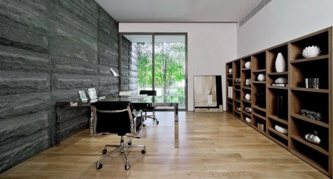 Home office interior stone wall