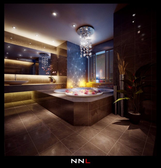 Luxurious bathroom 665x694 Dream Home Interiors by Open Design