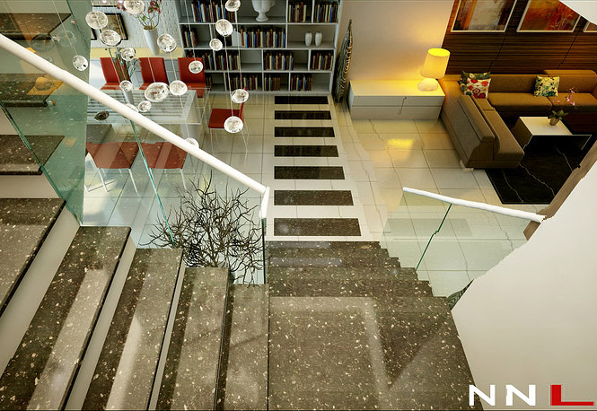glass marble staircase Dream Home Interiors by Open Design