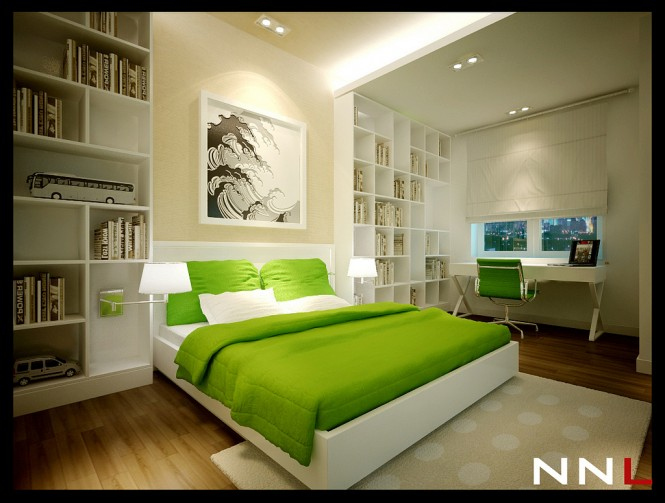 green white bedroom