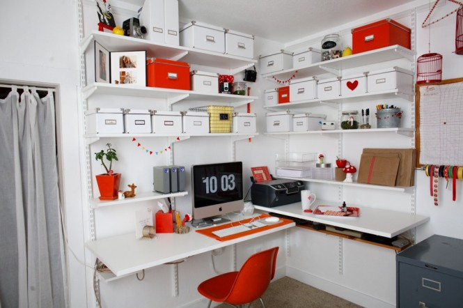 officeStylist orange white office 665x442 Creative Workspaces At Home