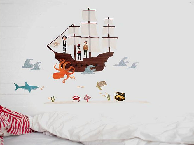 pirate sea creatures wall stickers