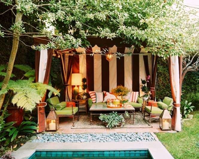 poolside striped cabana