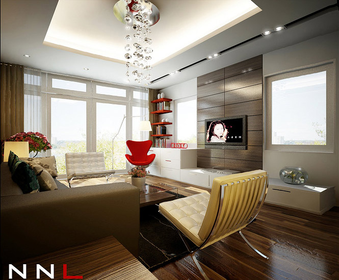 red brown living room Dream Home Interiors by Open Design
