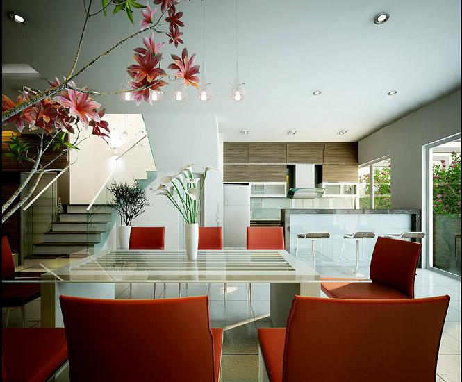red white dining Dream Home Interiors by Open Design