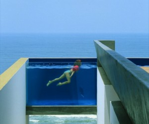 The clear walls of the swimming pool are an interesting feature, though swimmers may begin to feel like the latest attraction at Sea World!