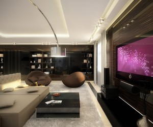 white dark wood living room