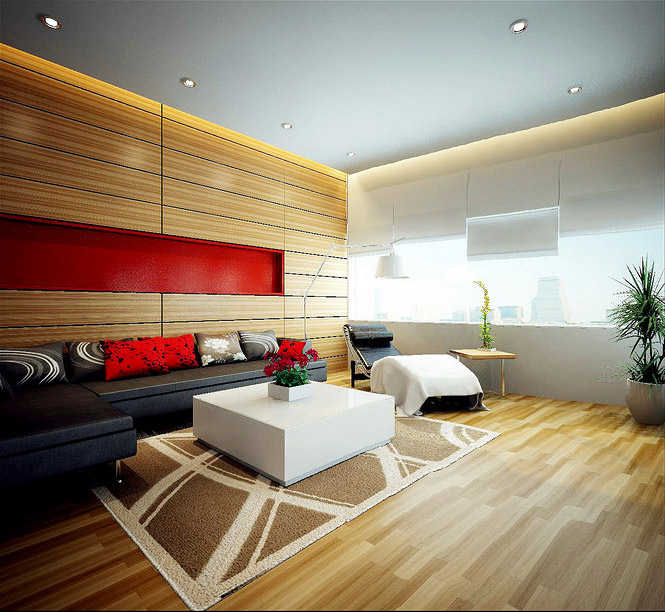 wood panel red accent living Dream Home Interiors by Open Design