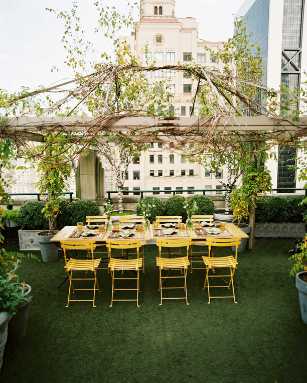 yellow chairs roof garden pergola