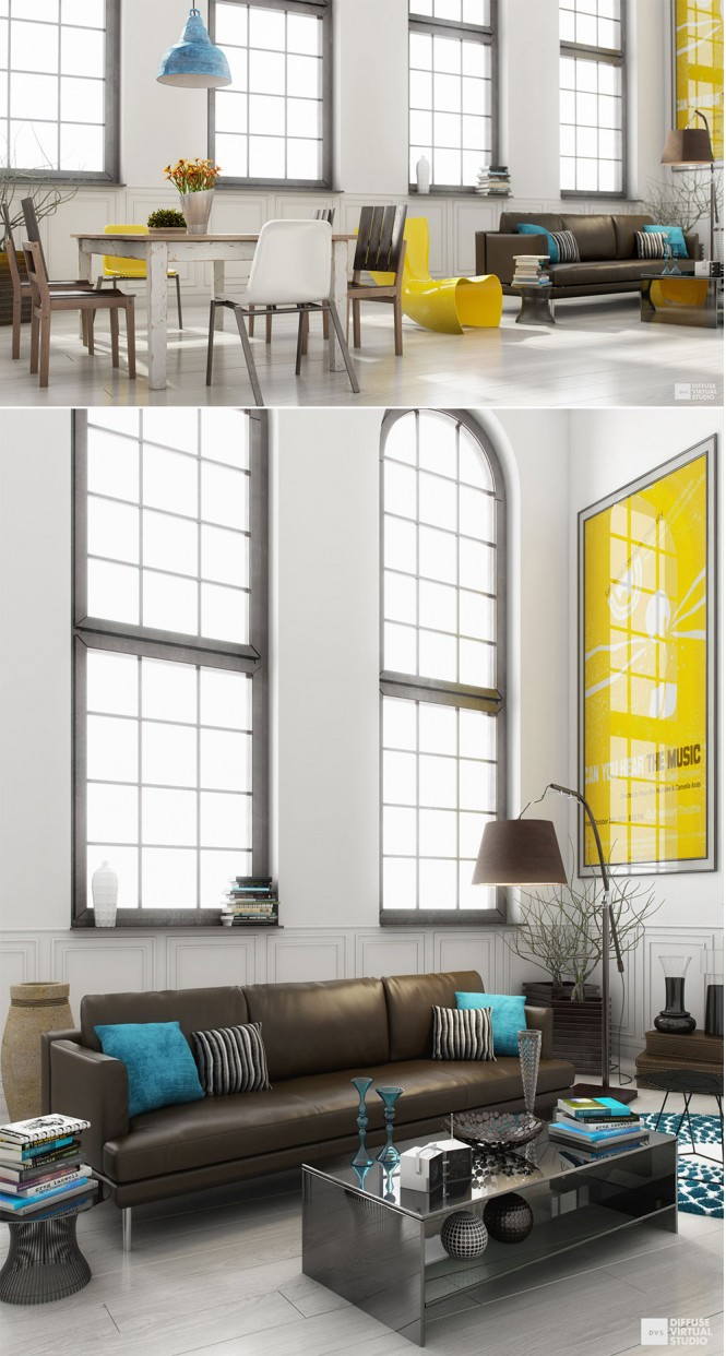 Via Diffuse VirtualYou'll find that many colors look great with yellow, team with splashes of blue or green accent pieces to balance out the scheme.