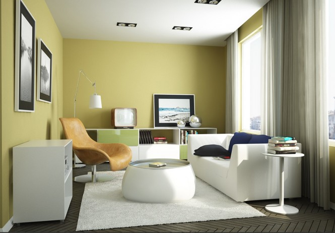 Via EvermotionA soft yellow with muted green creates a relaxing environment.