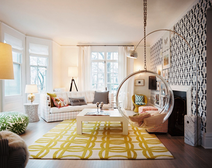 47 yellow black living room bubble swing - Black and yellow room ideas ...