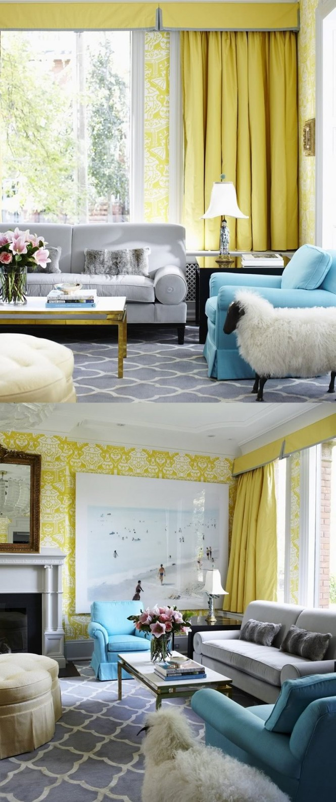 Via Marcus DesignUsing dove grey as a backdrop, duck egg blue against yellow is stunning.