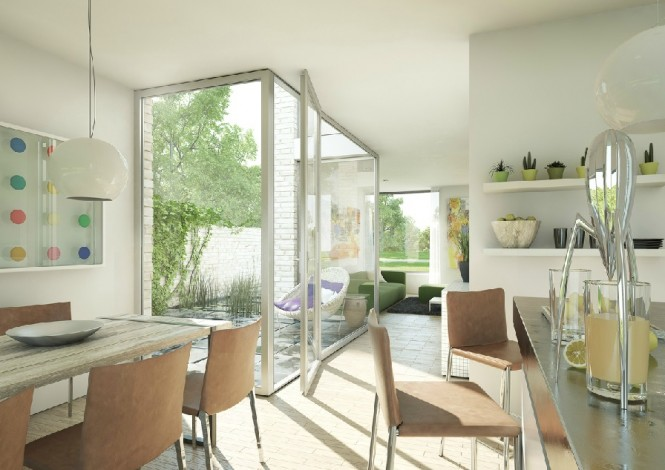 This bright white kitchen diner with access to a private sun patio has a homely feel, with friendly artwork and sweet shelf arrangements.