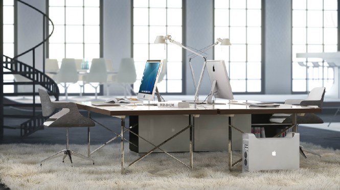 A large white office space is given a warm homely feel with a deep shag pile carpet underfoot.