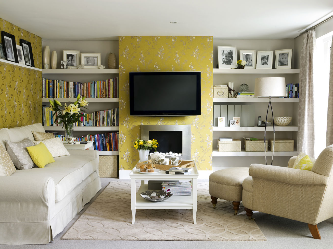 Living room yellow walls simple home decoration - Yellow interior house design photos ...