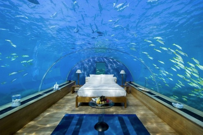 You&#039;ll be &#039;sleeping with the fishes&#039; in this honeymoon suite at the Conrad Maldives Rangali Islands Resort. This underwater tunnel of love may seem like an aqua wonder world to some, but others may be reminded of that chamber-crunching scene from Jaws