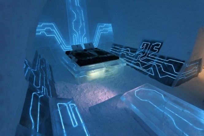 The Tron movie inspired hotel room in Sweden wouldn&#039;t sit too well with Feng Shui followers who believe in eradicating technology from the bedroom, as this space feels pretty much like you&#039;re sleeping in a computer chip, a very blue, glowing, computer chip.