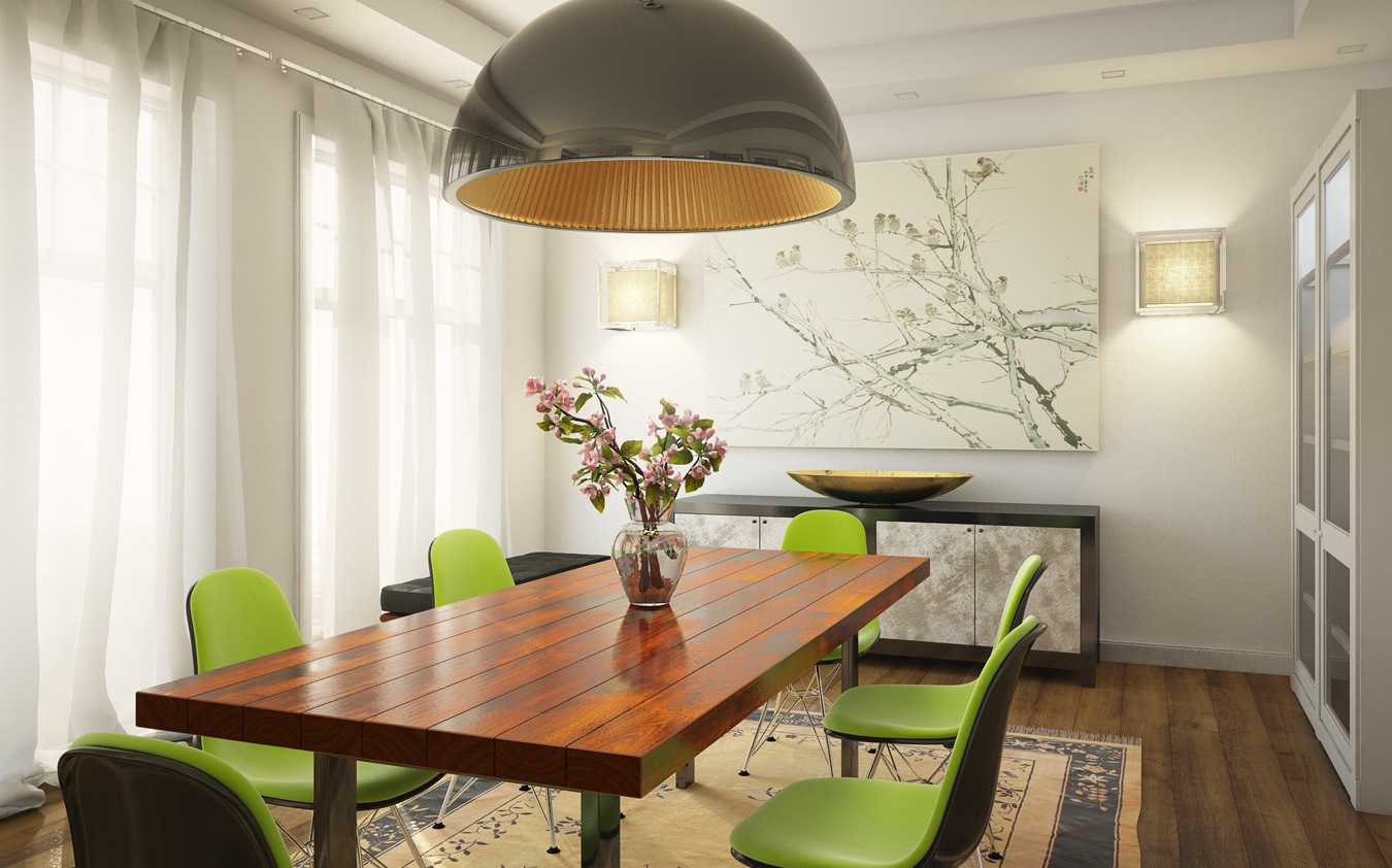 Green dining room design - Fresh White Based Dining Spaces 6 Green White Dining Room Wooden