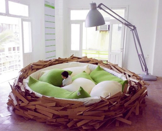 This nest bed by Oge Architects is the perfect place to &#039;lay&#039; your head for the night, or for &#039;hatching&#039; new ideas, or lounging with your laptop and &#039;Tweeting&#039;, but remember the &#039;early bird catches the worm!&#039; Ok, enough yolks