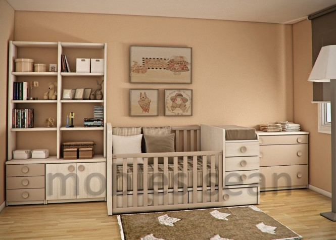 Brown white baby toddler small room