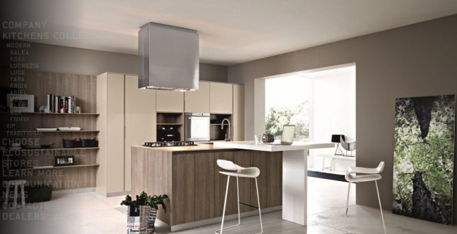 Cream taupe wood modern kitchen