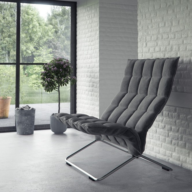 Gray feature chair white interior brick wall