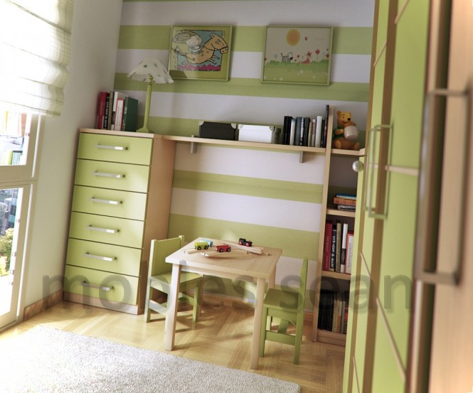 Lime green white stripe kids room
