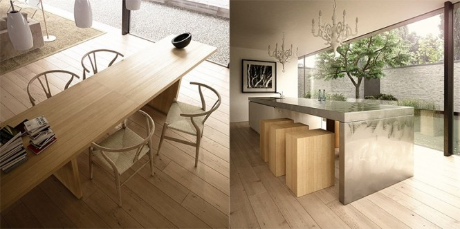 Neutral beech dining rooms