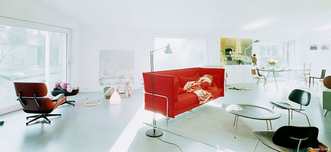 Red Modern sofa white living room
