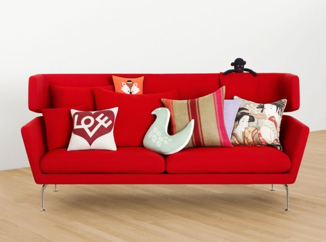 Red modern sofa cushions