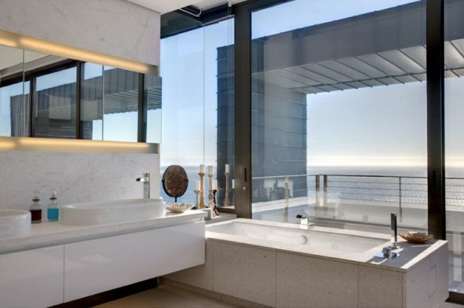 White contemporary bathroom suite