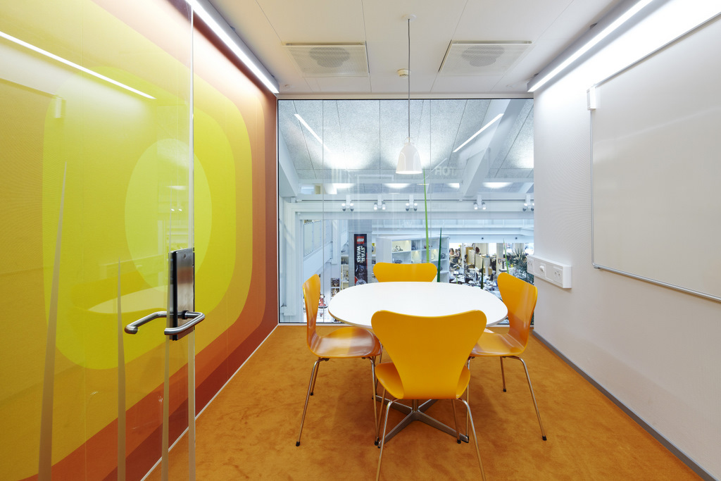 Yellow meeting booth for Office design yellow