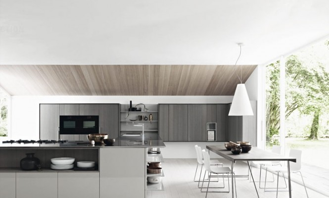 gloss ash white modern kitchen