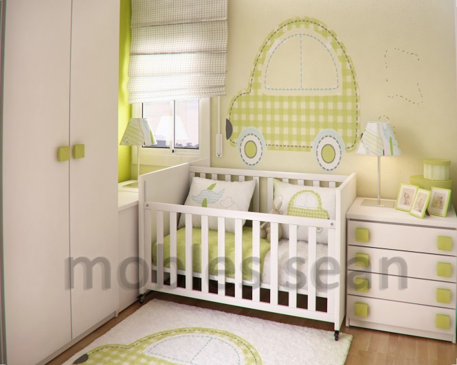 green white baby nursery room