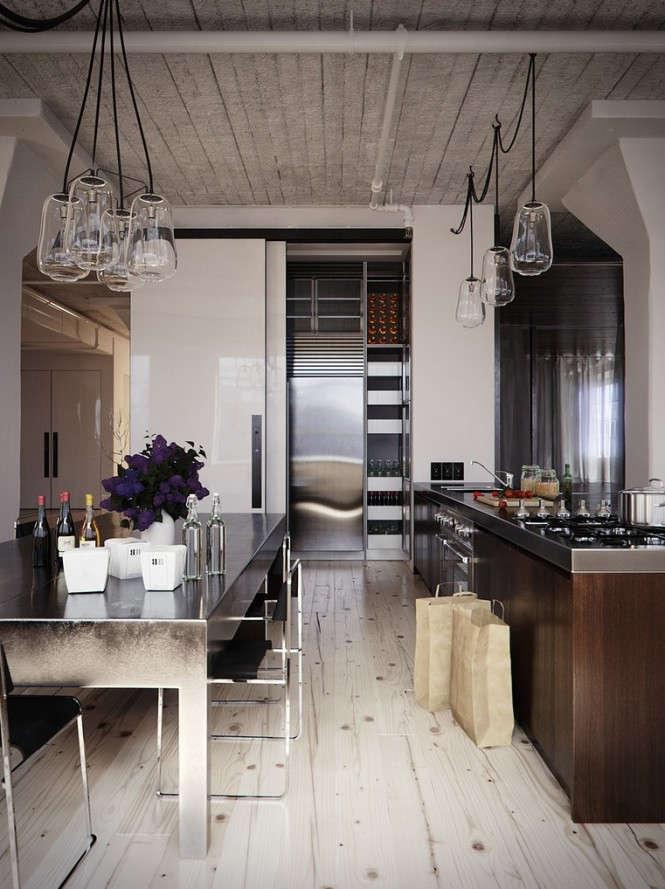 wood stainless steel kitchen diner