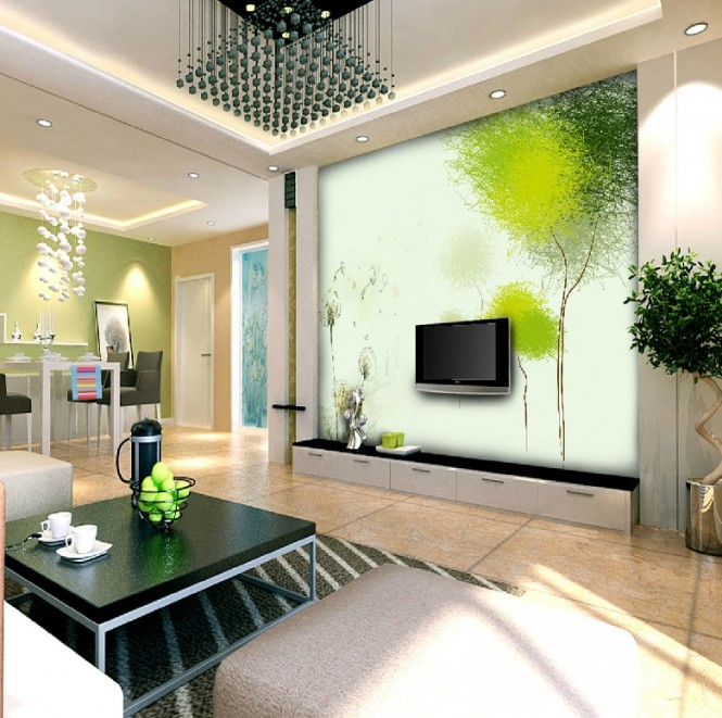 Green white open plan living space