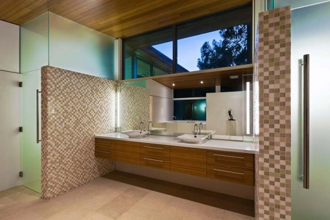 Modern bathroom units mosaic tile