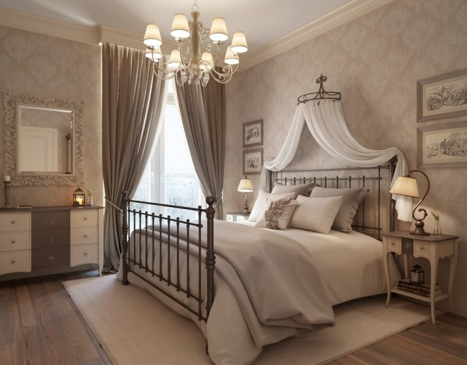 Shades of taupe cover the second bedroom, and are lifted by the introduction of wall pattern, and two-tone furniture. The head of the bed is swathed with a romantic canopy, echoing the sheer window dressing and adding further luxury to the scheme.