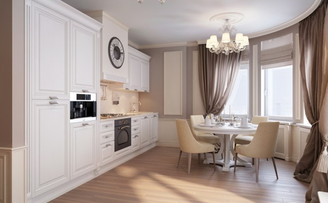 White painted kitchen cabinets continue the elegant traditional look of the home design whilst still housing all of the required mod cons like an integrated chrome coffee maker. Wall paneling is picked out in cream to brighten the biscuit tone walls and curtains.