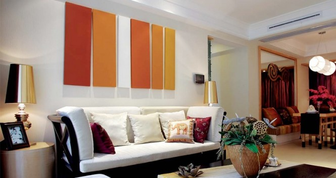 Orange white living room