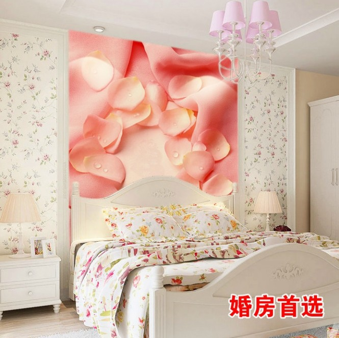 Pink white bedroom floral headboard