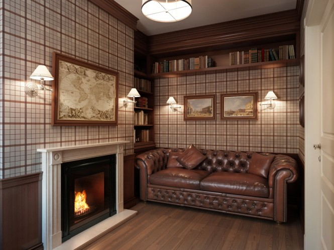 A masculine themed den-cum-study complete with Chesterfield sofa, muted plaid wallcovering, roaring fireplace, and artwork pertaining to world travel and adventure, evokes the secrecy of an old-world gentlemen's lodge.