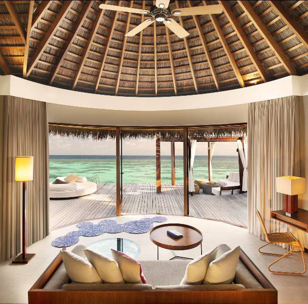 In Ocean Oasis and Ocean Heaven villas, Maldivian marine life can be glimpsed through extra sections of glass floor around the living area, complete with underwater lighting for a midnight show.