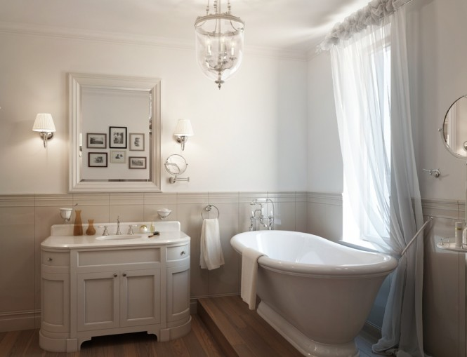 White traditional bathroom roll top bath