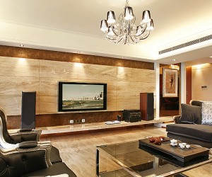 Wood paneling entertainment wall lounge