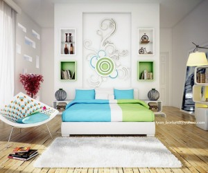 green blue white contemporary bedroom