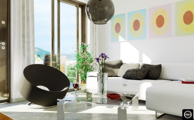 modern white living room colorful accent art