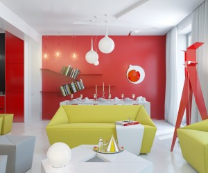 red white yellow open plan living space